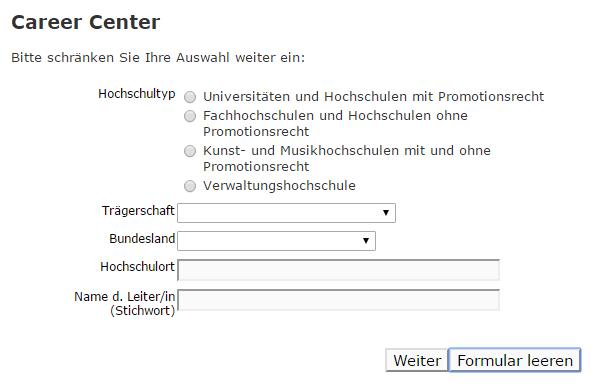 Suche nach Career Service Einrichtungen deutscher Hochschulen.